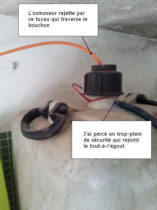 Rejet de l'osmoseur évacué dans un jerrican